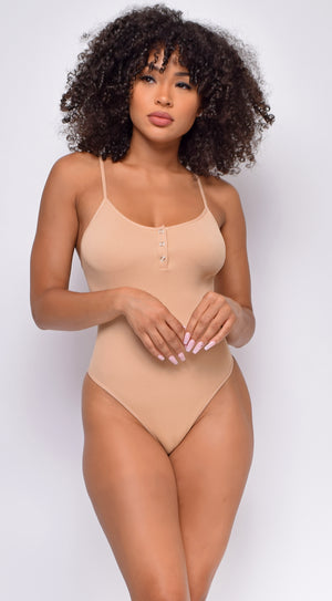 Keep Rib Taupe Button Front Bodysuit