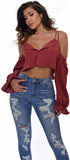 Jona Brick Red Cold Shoulder Crop Top