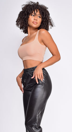 Ilva Nude Square Neck Crop top