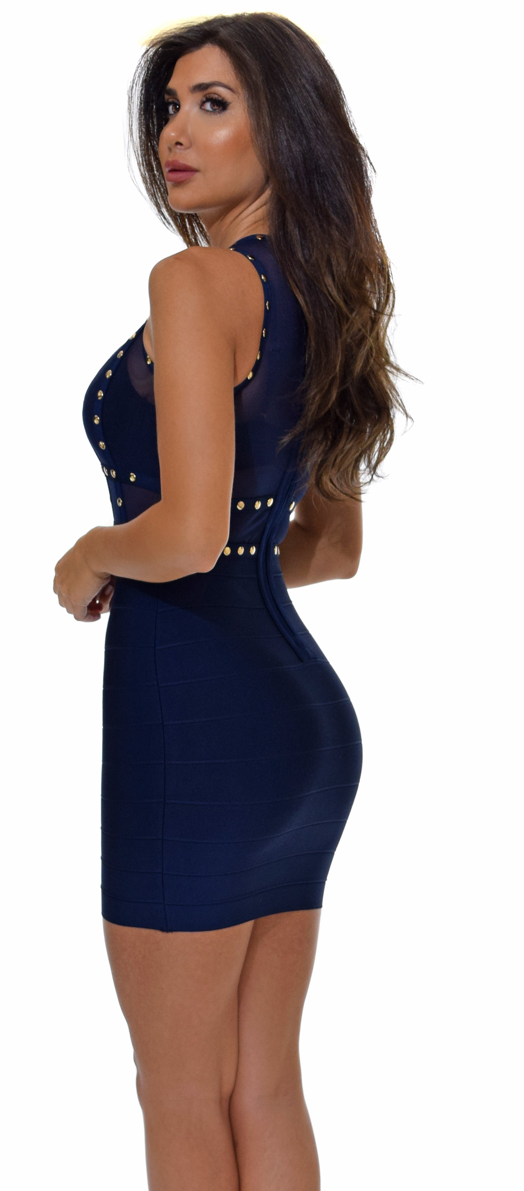 Anaelle Navy Studded Mesh Bandage Dress - Emprada