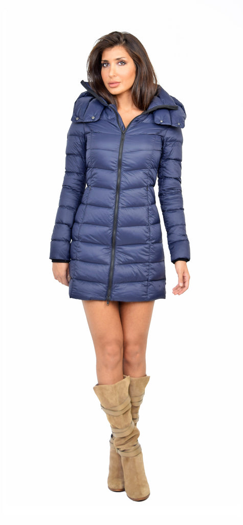 Navy Light Down Jacket With Hood - Emprada