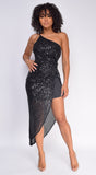 Jolyn Black One Shoulder Sequin Drape Maxi Dress