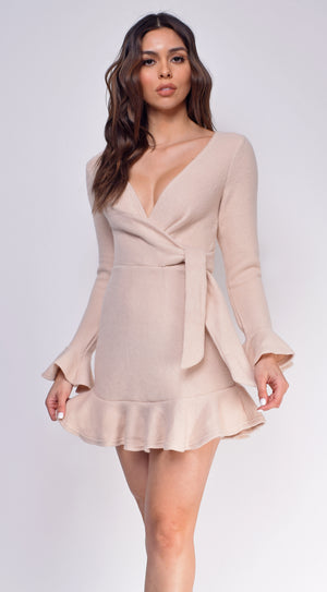 Emberly Nude Beige Ribbed Dress