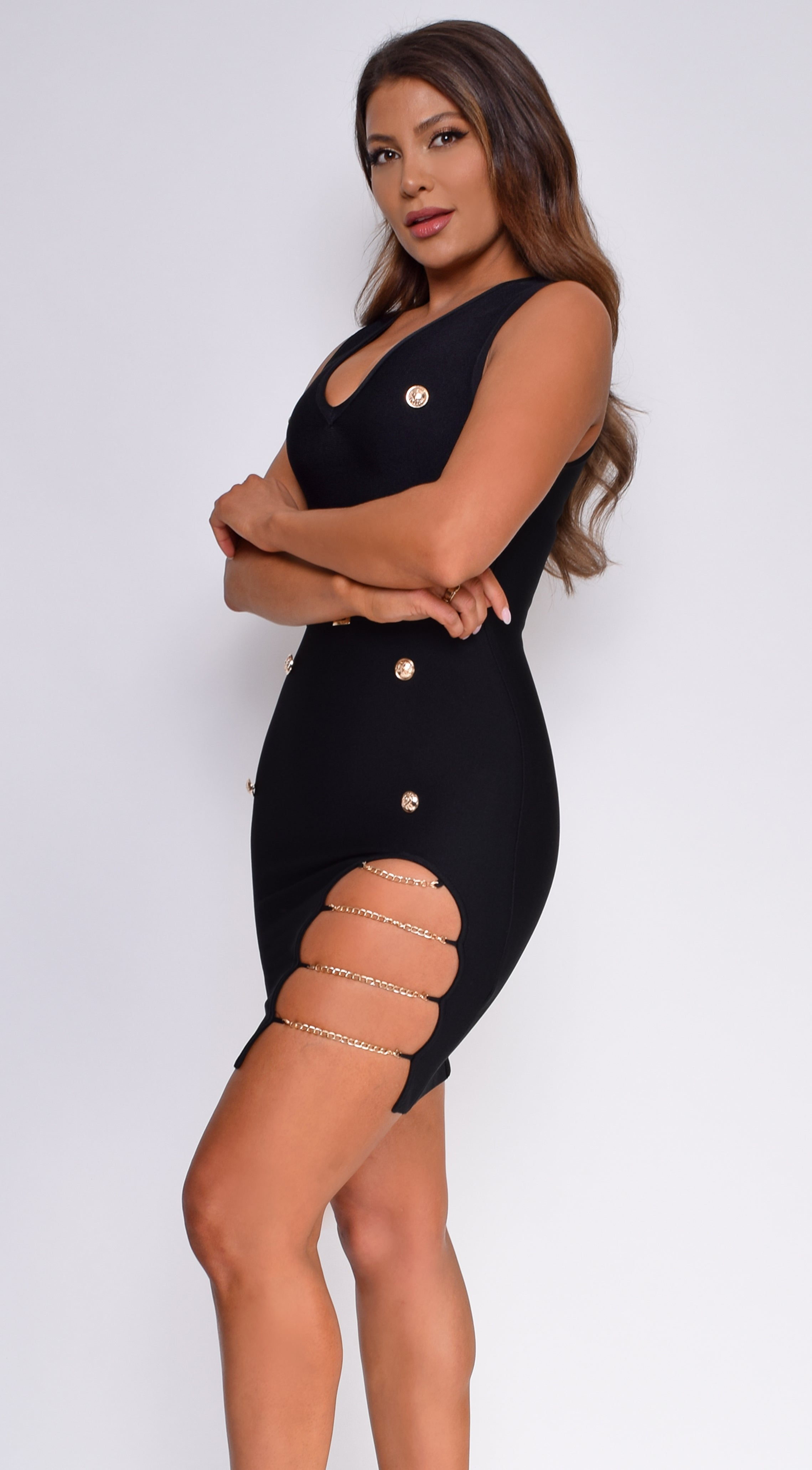 Arlow Black Side Slit Chain Button Bandage Dress