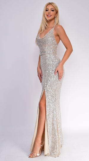 Sivan Nude Silver Cowl Neck Side Slit Sequin Gown