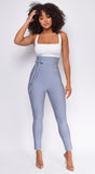 Hara Blue Grey High Waist Belted Bandage Pants