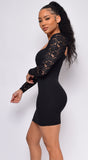 Anjali Black Lace Long Sleeve Bustier Dress