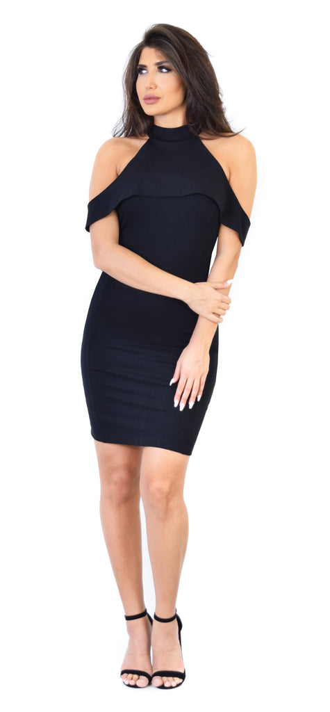 Brooke High Neck Black Midi Dress - Emprada
