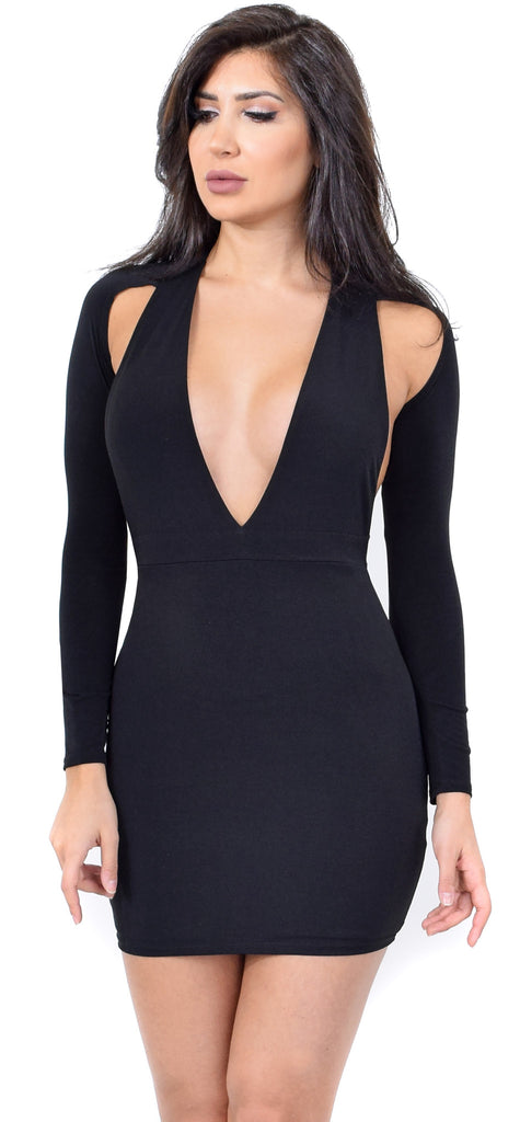 Joanna Deep V Neck Cold Shoulder Dress