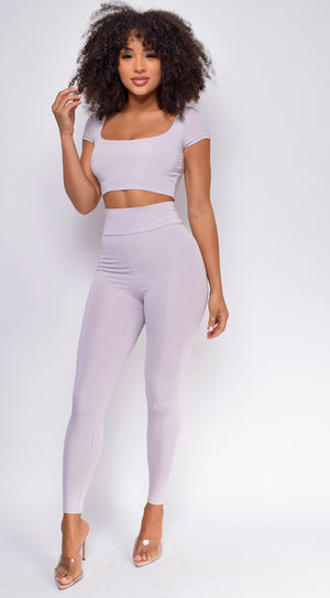 Ryah Silver Square Neck Scrunch Butt Legging Set
