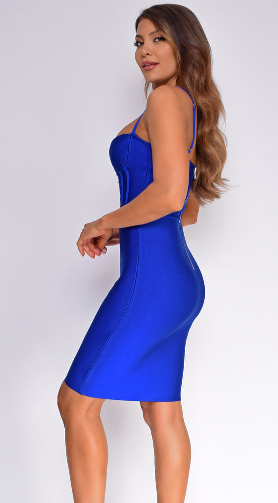 Selah Royal Blue Corset Bustier Bandage Dress