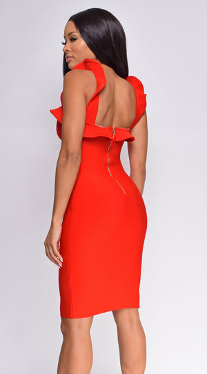 Helen Red Ruffle Slit Bandage Dress