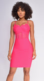 Apryl Pink Lace Detail Bustier Bandage Dress