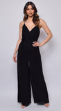 Scarlet Black Wrap Front Wide Leg Jumpsuit