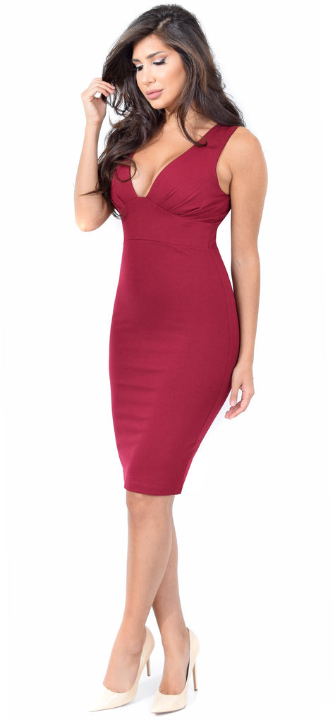 Sabrina Burgundy Midi Dress - Emprada