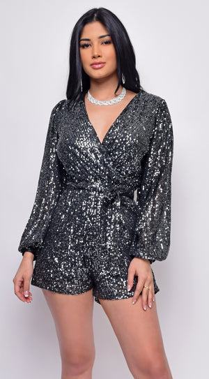 Anja Black Sequin Wrap Over V Neck Long Sleeve Romper