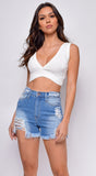 Tosca White Ribbed Crop Top