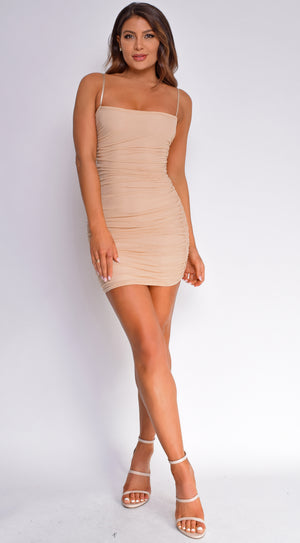 Vallie Nude Ruched Mini Dress