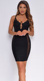 Emsley Black Bustier Lace Mesh Sides Bandage Dress