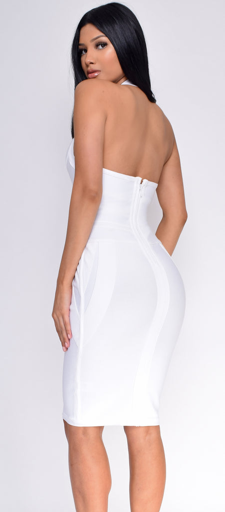 Jeaneen White Halter Bandage Dress
