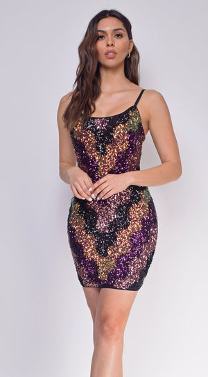 Marleena Purple Multi Sequin Dress