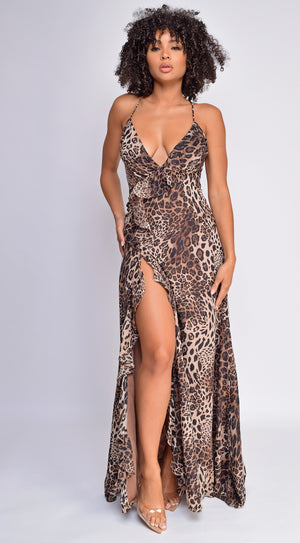Maylani Leopard Brown Print Side Slit Maxi Dress