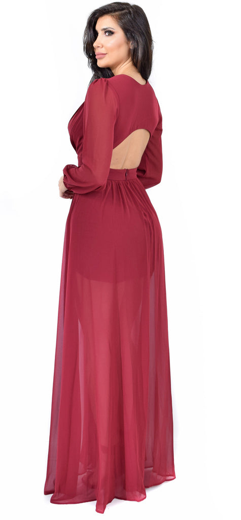 Anita Wine Maxi Dress - Emprada