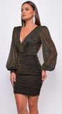 Elodie Gold Metallic V-Neck Wrap Balloon Long Sleeve Mini Dress