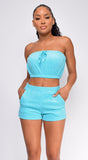Arwa Blue Terry Two Piece Tube Set