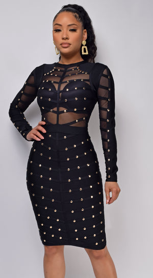Mio Black Studded Mesh Bandage Dress