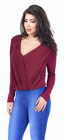 Burgundy Chiffon Pleated Surplice Top