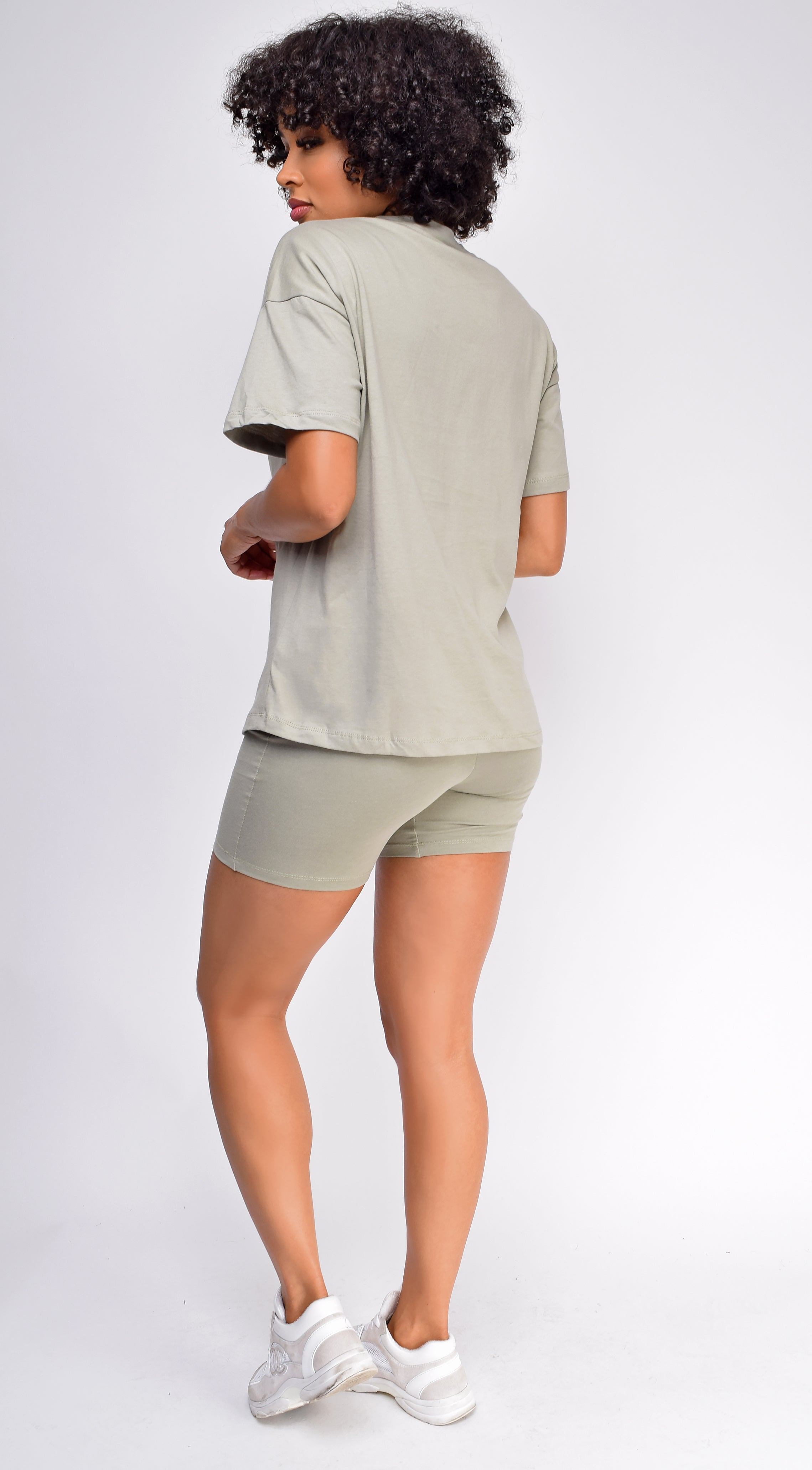 Oversized Olive Green T-Shirt And Biker Short Two Piece Set
