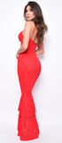 Persia Red Lace Bandage Mermaid Gown