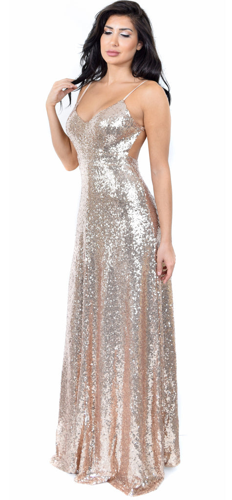Selene Rose Gold Sequin Gown – Emprada