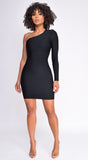 Janis Black One Shoulder Long Sleeve Bandage Dress