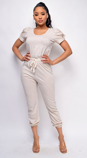 Willa Nude Puff Sleeve Jumpsuit