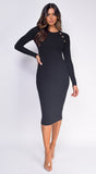 Isabella Black Ribbed Gold Button Dress