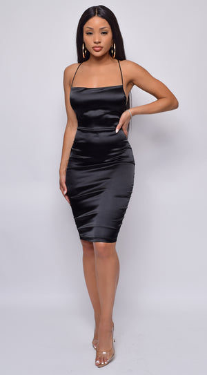 Ashtyn Black Satin Dress