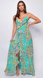 Azari Blue Green Tropical Floral Print Ruffle Side Slit Maxi Dress