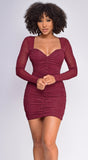 Kira  Wine Red Ruched Mesh Long Sleeve Dress
