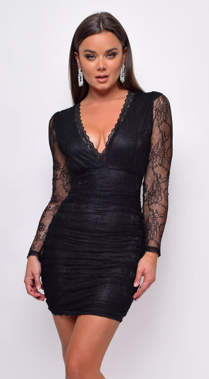 Roseanne Black Lace V Neck Long Sleeve Ruched Dress