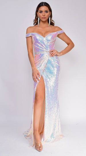 Vanessa Opal White Multi Off Shoulder Wrap Sequin Gown