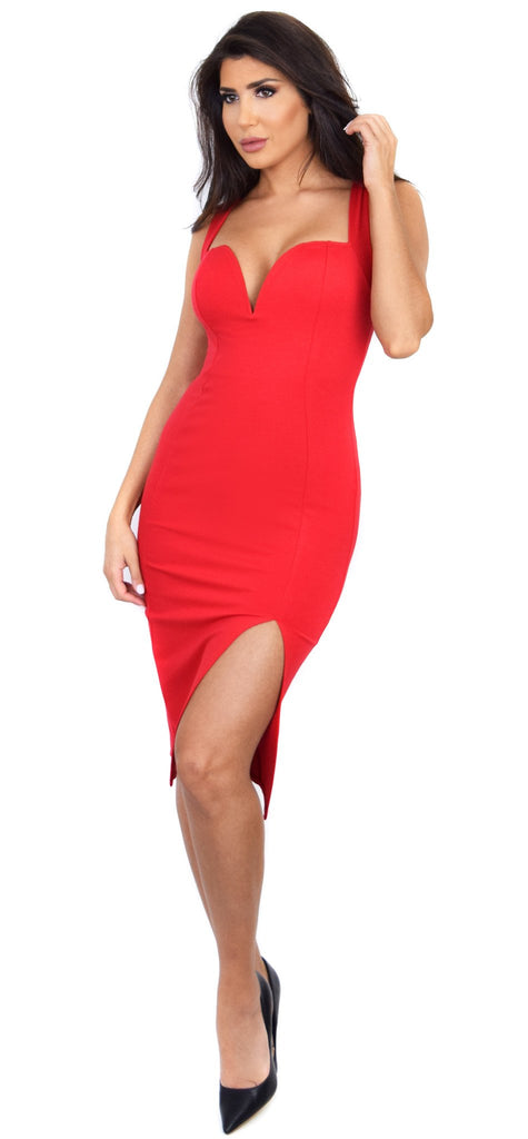 Marianna Red Slit Dress - Emprada