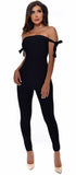 Jhene Black Arm Tie Bandage Jumpsuit