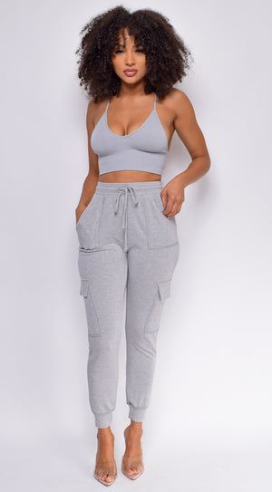 Run It Up Heather Grey High Waist Side Pocket Joggers