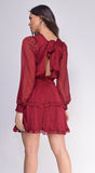 Emory Wine Red Long Sleeve Ruffle Dress