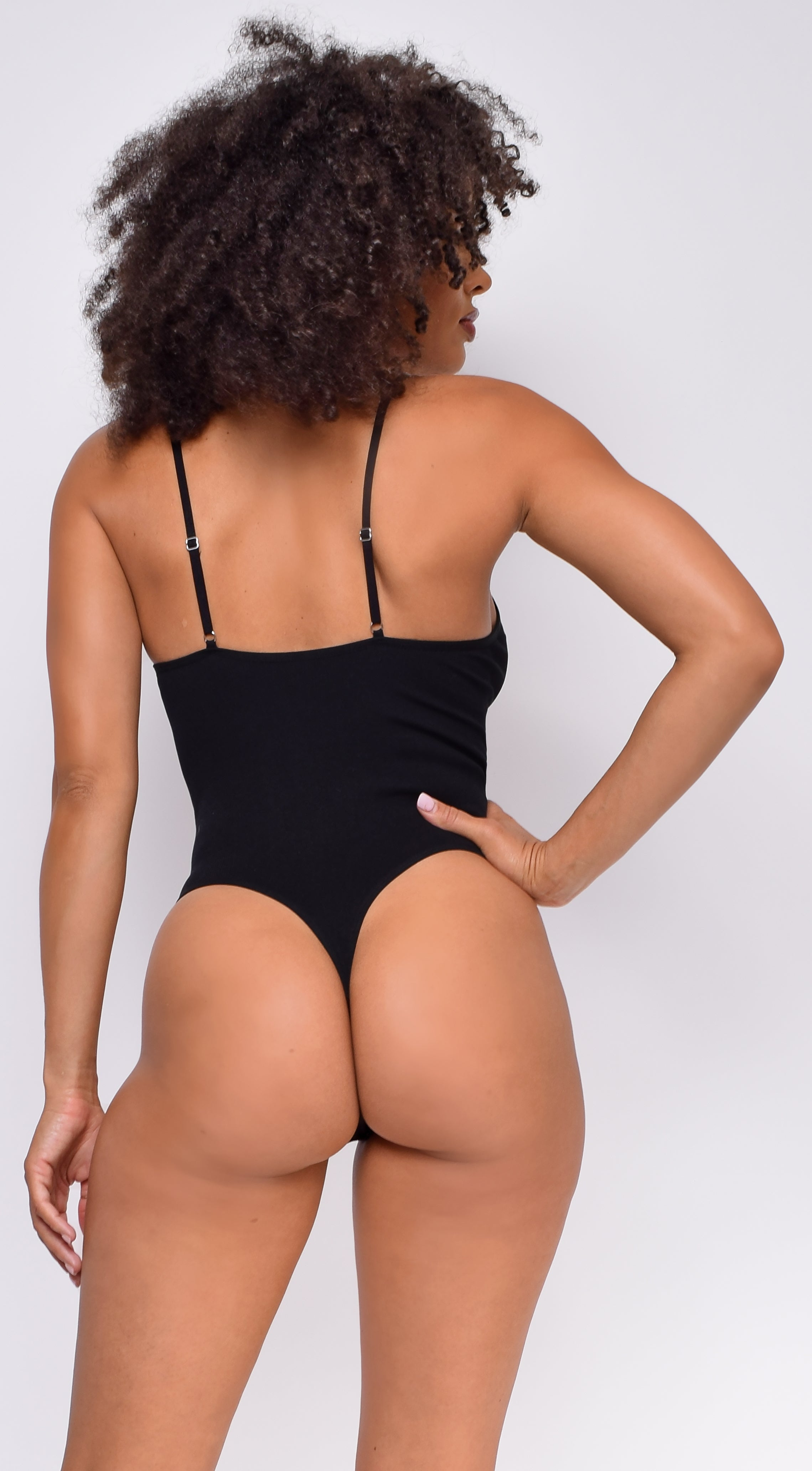 Keep Rib Black Button Front Bodysuit