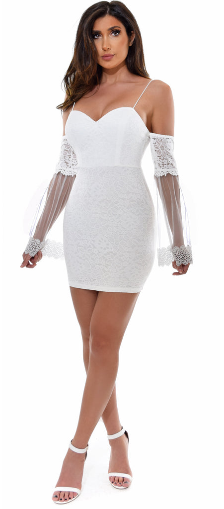 Ariel White Lace Mesh Bell Sleeve Dress - Emprada