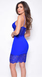Merveille Royal Blue Lace Bustier Dress