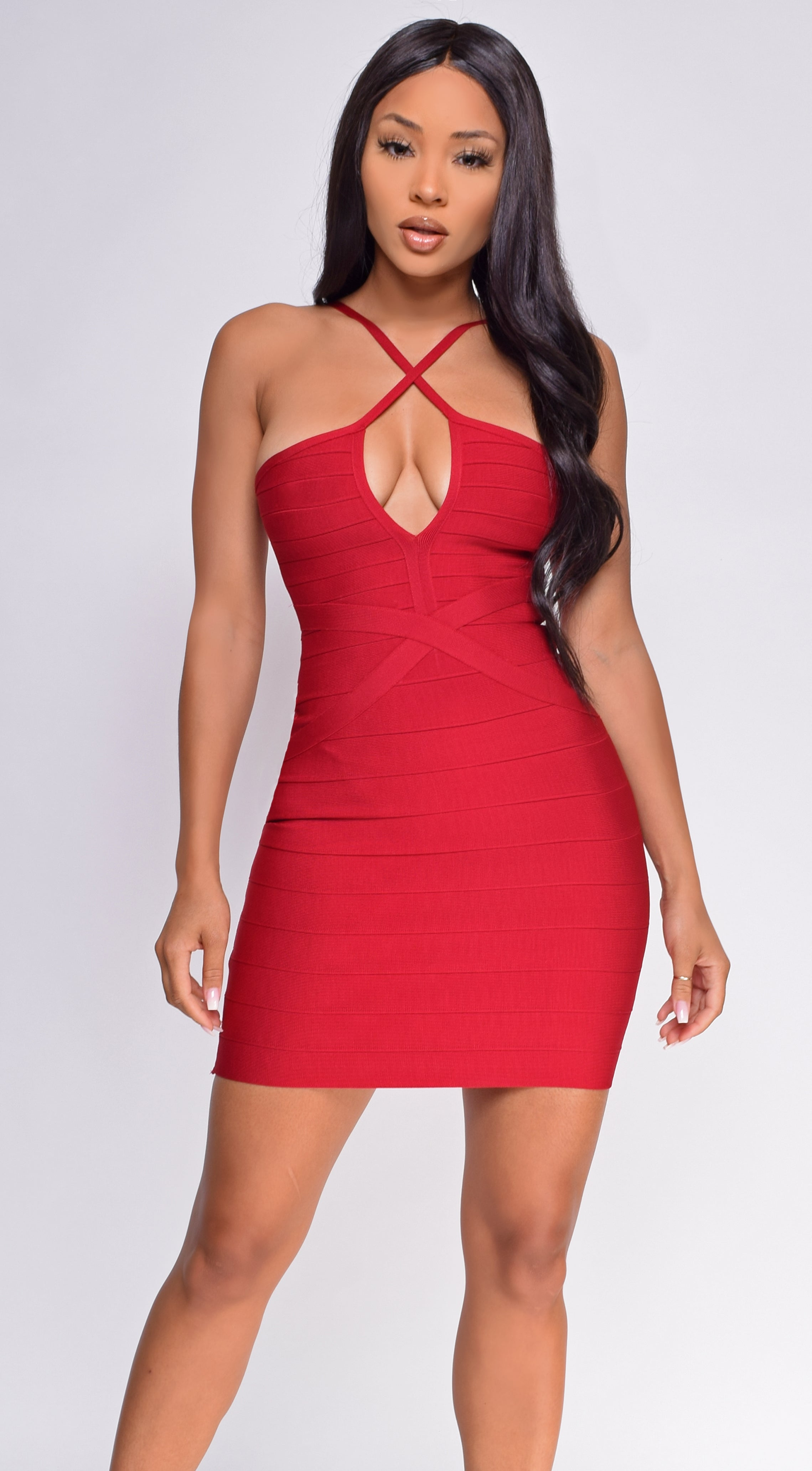 Karalana Wine Red Bandage Dress